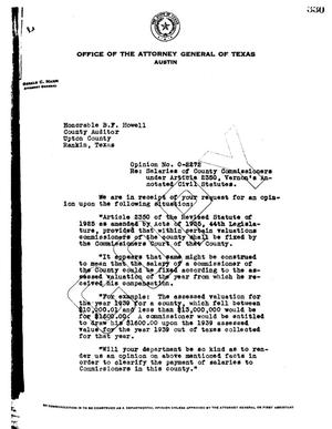 Primary view of object titled 'Texas Attorney General Opinion: O-2272'.
