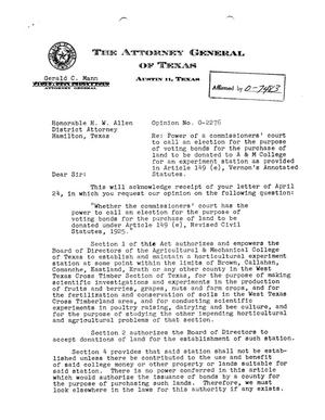 Primary view of object titled 'Texas Attorney General Opinion: O-2276'.