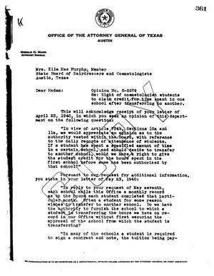 Primary view of object titled 'Texas Attorney General Opinion: O-2279'.
