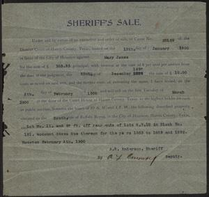 Primary view of object titled 'Announcement of property sale, 1900'.