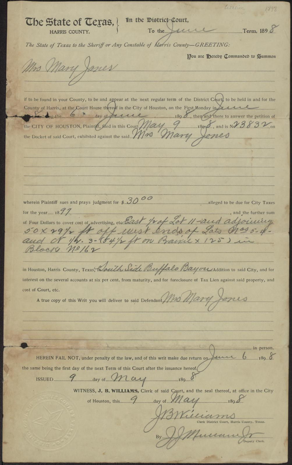 The City of Houston vs. Mrs. Mary Jones, summons issued 9 May 1898                                                                                                      [Sequence #]: 1 of 2