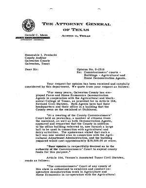 Primary view of object titled 'Texas Attorney General Opinion: O-2516'.