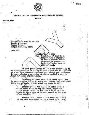 Primary view of object titled 'Texas Attorney General Opinion: O-2521'.