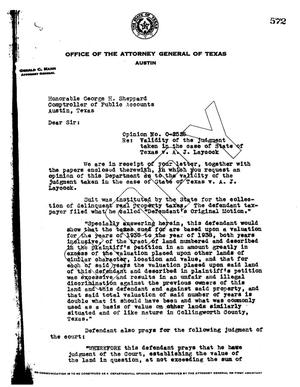 Primary view of object titled 'Texas Attorney General Opinion: O-2525'.