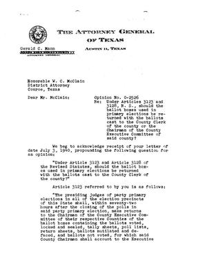 Primary view of object titled 'Texas Attorney General Opinion: O-2526'.