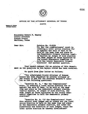 Primary view of object titled 'Texas Attorney General Opinion: O-2539'.