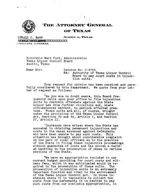 Primary view of object titled 'Texas Attorney General Opinion: O-2724'.