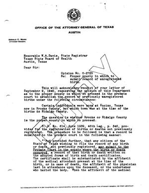 Primary view of object titled 'Texas Attorney General Opinion: O-2725'.