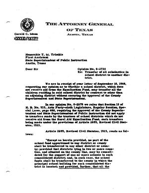 Primary view of object titled 'Texas Attorney General Opinion: O-2730'.