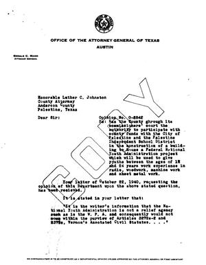 Primary view of object titled 'Texas Attorney General Opinion: O-2842'.