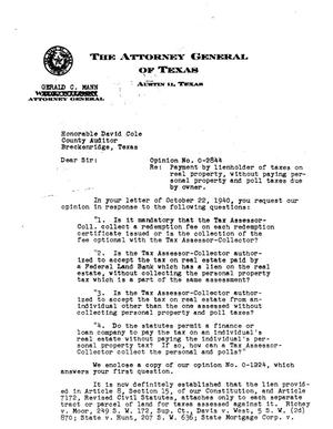 Primary view of object titled 'Texas Attorney General Opinion: O-2844'.