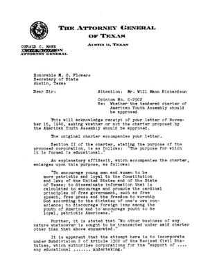 Primary view of object titled 'Texas Attorney General Opinion: O-2902'.