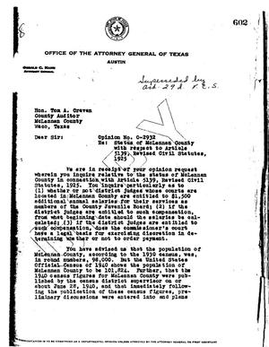 Primary view of object titled 'Texas Attorney General Opinion: O-2932'.