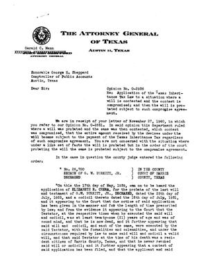 Primary view of object titled 'Texas Attorney General Opinion: O-2936'.