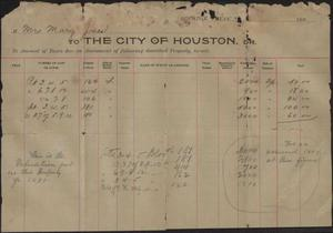 Primary view of object titled 'Statement of taxes due to the city of Houston from Mrs. Mary Jones, 1898'.
