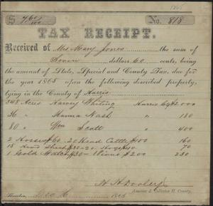 Tax receipt for Mary Jones, signed in 1865