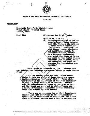 Primary view of object titled 'Texas Attorney General Opinion: O-3216'.