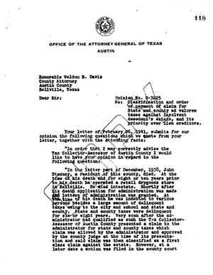 Primary view of object titled 'Texas Attorney General Opinion: O-3225'.