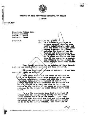 Primary view of object titled 'Texas Attorney General Opinion: O-3227'.