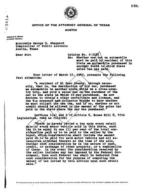 Primary view of object titled 'Texas Attorney General Opinion: O-3232'.