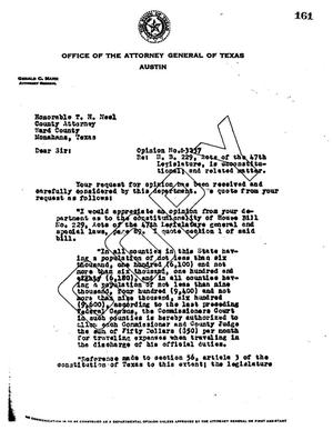 Primary view of object titled 'Texas Attorney General Opinion: O-3237'.