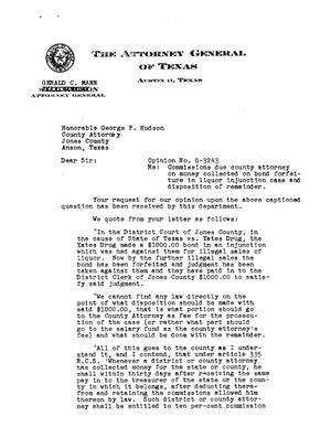 Primary view of object titled 'Texas Attorney General Opinion: O-3243'.