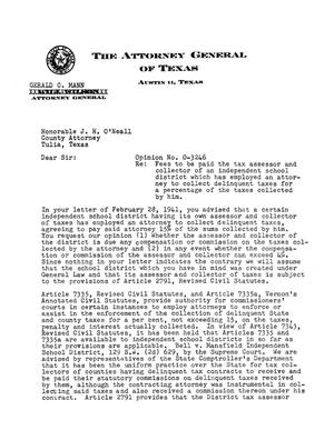 Primary view of object titled 'Texas Attorney General Opinion: O-3246'.