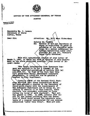 Primary view of object titled 'Texas Attorney General Opinion: O-3254'.