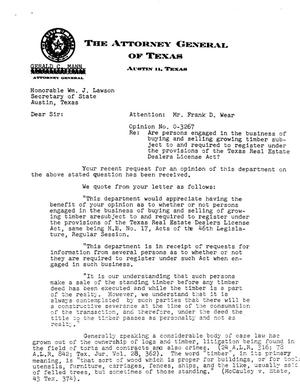 Primary view of object titled 'Texas Attorney General Opinion: O-3267'.