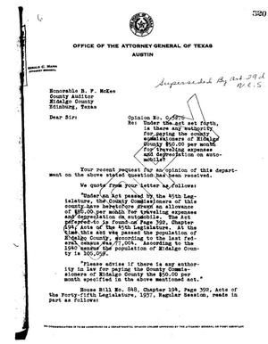 Primary view of object titled 'Texas Attorney General Opinion: O-3276'.