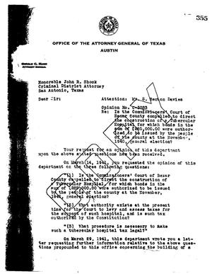 Primary view of object titled 'Texas Attorney General Opinion: O-3283'.