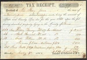 Tax receipt for Mary Jones, signed in 1862