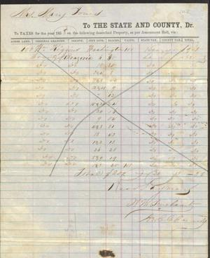 Primary view of object titled 'Property taxes paid to the state and county by Mary Jones, 1858'.