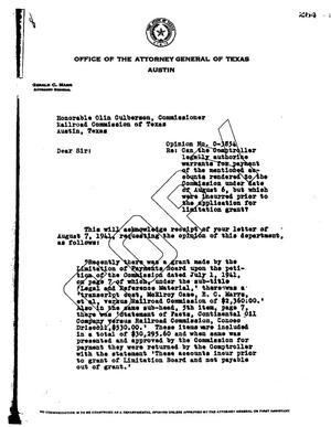 Primary view of object titled 'Texas Attorney General Opinion: O-3854'.