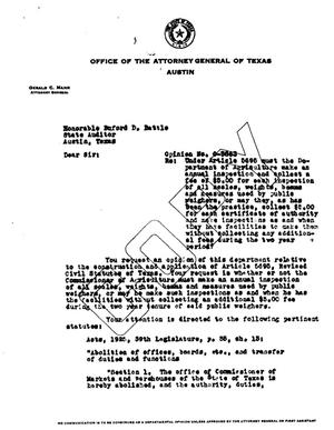 Primary view of object titled 'Texas Attorney General Opinion: O-3863'.