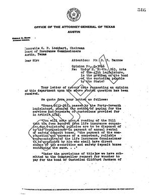Primary view of object titled 'Texas Attorney General Opinion: O-3866'.