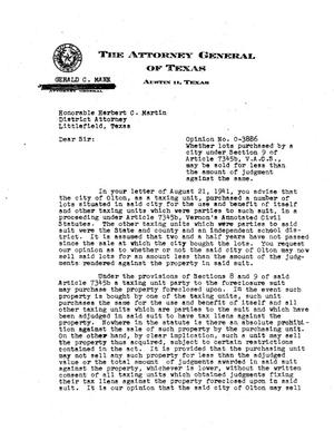 Primary view of object titled 'Texas Attorney General Opinion: O-3886'.