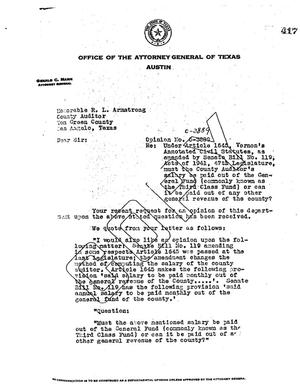 Primary view of object titled 'Texas Attorney General Opinion: O-3889'.
