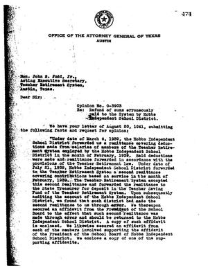 Primary view of object titled 'Texas Attorney General Opinion: O-3903'.