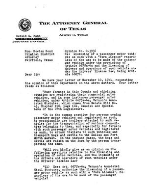 Primary view of object titled 'Texas Attorney General Opinion: O-3936'.