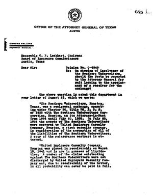 Primary view of object titled 'Texas Attorney General Opinion: O-3945'.