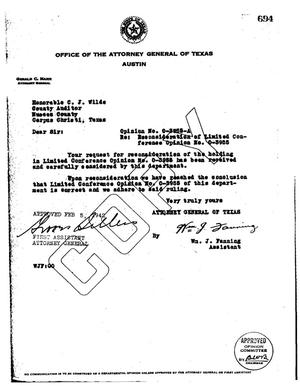 Primary view of object titled 'Texas Attorney General Opinion: O-3955A'.