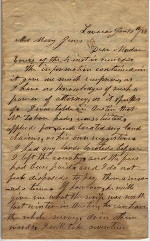 Primary view of object titled 'Letter to Mary Jones, 10 January 1859'.