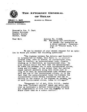 Primary view of object titled 'Texas Attorney General Opinion: O-3964'.