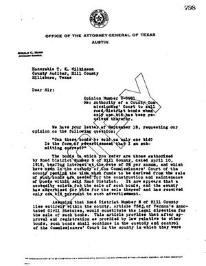 Primary view of object titled 'Texas Attorney General Opinion: O-3981'.