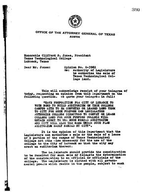 Primary view of object titled 'Texas Attorney General Opinion: O-3982'.