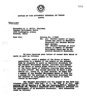Primary view of object titled 'Texas Attorney General Opinion: O-3996'.