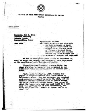 Primary view of object titled 'Texas Attorney General Opinion: O-3997'.