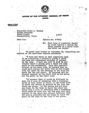 Primary view of object titled 'Texas Attorney General Opinion: O-4003'.