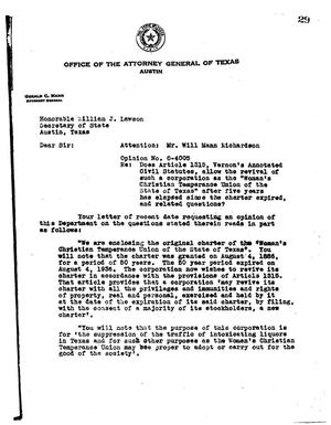 Primary view of object titled 'Texas Attorney General Opinion: O-4005'.
